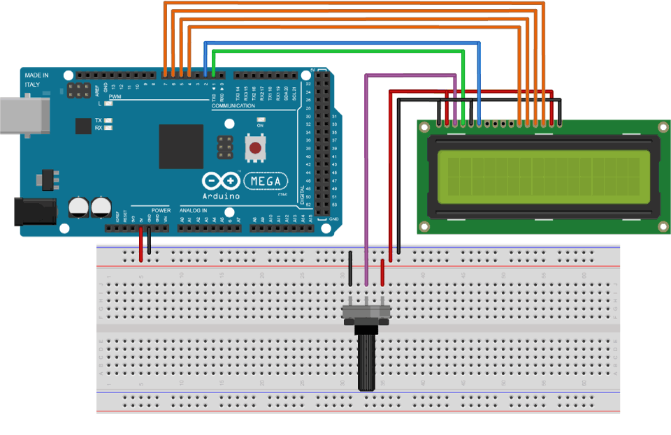 Arduino LCD Tutorial Circuit Schematic