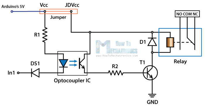 control high voltage devices arduino relay tutorial rh howtomechatronics com relay schematic representation relay schematic arduino