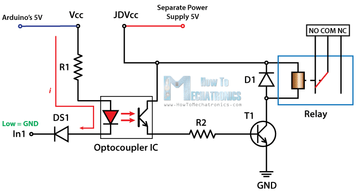 control high voltage devices arduino relay tutorial rh howtomechatronics com arduino relay circuit diagram arduino relay module circuit diagram