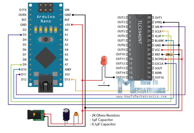 Arduino and TLC5940 Wiring