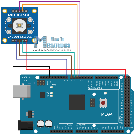 Arduino Color Sensing Tutorial TSC230 TSC3200 Color Sensor Circuit Schematics