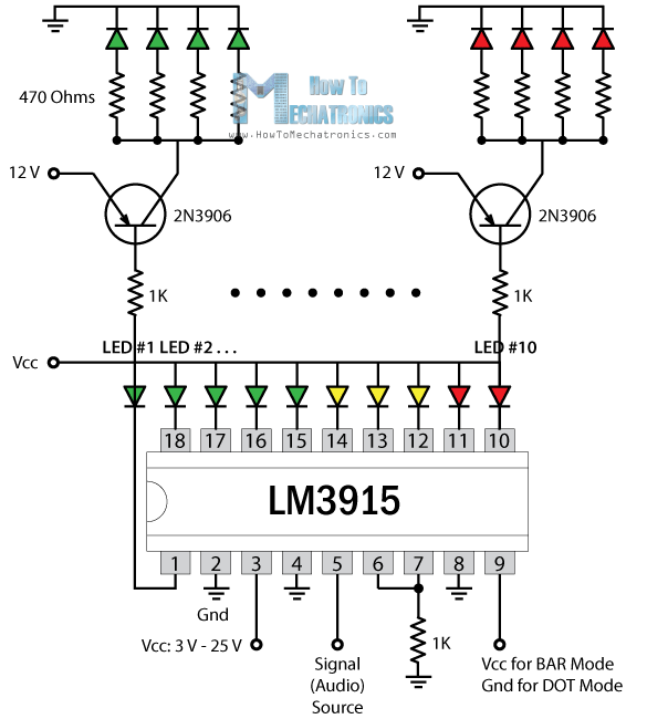 vu meter using a lm3915 circuit diagram