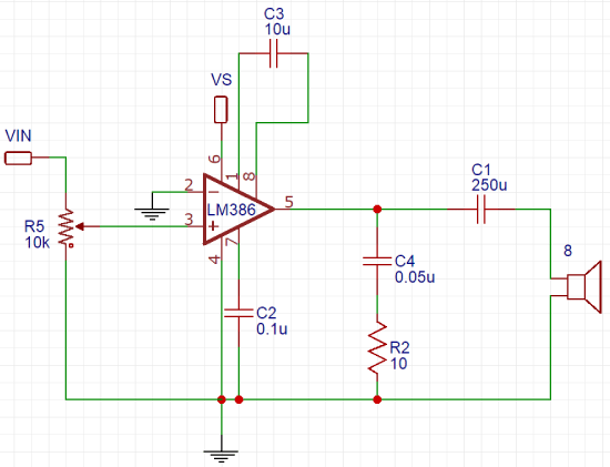 LM386 Audio Amplifier Circuit Schematics