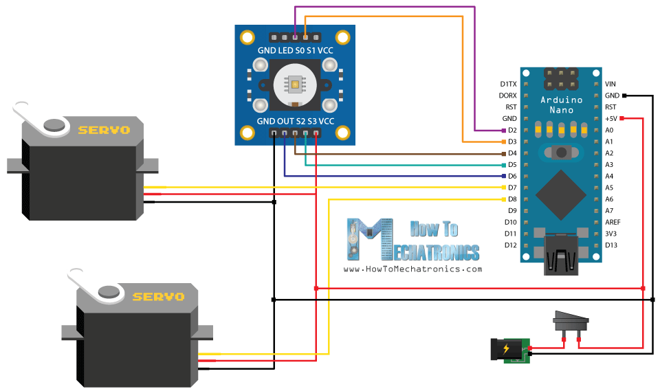 Arduino Color Sorting Machine Circuit Schematic