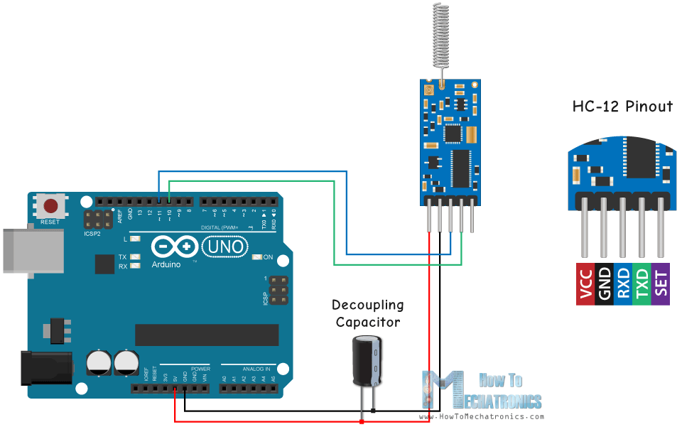 Arduino and HC-12 Circuit Schematic