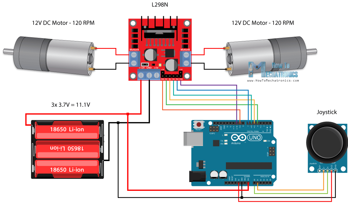 Arduino Robot Car Control using L298N Driver Circuit Schematic arduino dc motor control tutorial l298n pwm h bridge