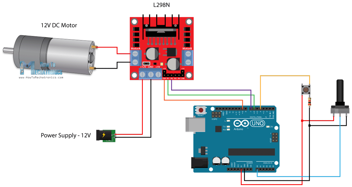 Arduino DC Motor Control Tutorial - L298N | PWM | H-Bridge ... on vga pinout diagram, 4 pin cable, 4 pin harness diagram, 4 pin fuse, 110cc wire harness diagram, 4 pin wire harness, 4 pin connector, 4 pin switch, s-video pin diagram, 4 pin sensor diagram, 4 pin fan diagram, 4 pin relay, 4 pin wiring chart, 4 pin round trailer wiring, 4 pin plug, and 4 pin input diagram, 4 pin trailer diagram, 4 pin trailer harness, 4 pin voltage, 4 pin socket diagram,