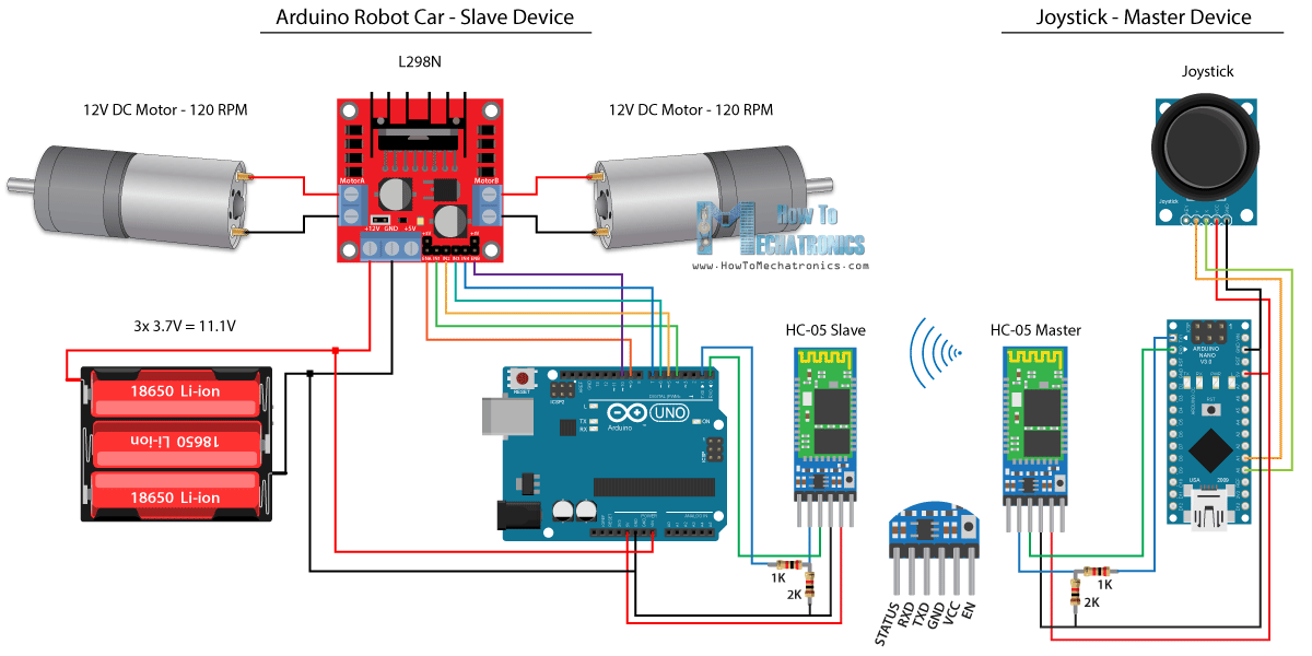 Arduino Robot Car HC 05 Bluetooth Control Circuit Schematic arduino robot car wireless control using hc 05 bluetooth, nrf24l01