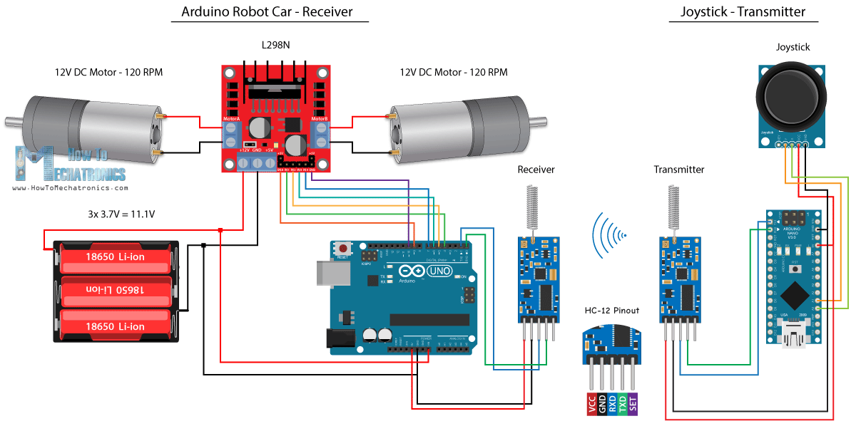 Arduino Robot Car Wireless Control Using HC-12 Long Range Transceiver