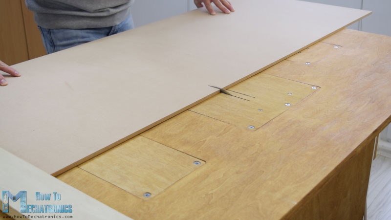 Cutting to size the MDF boards