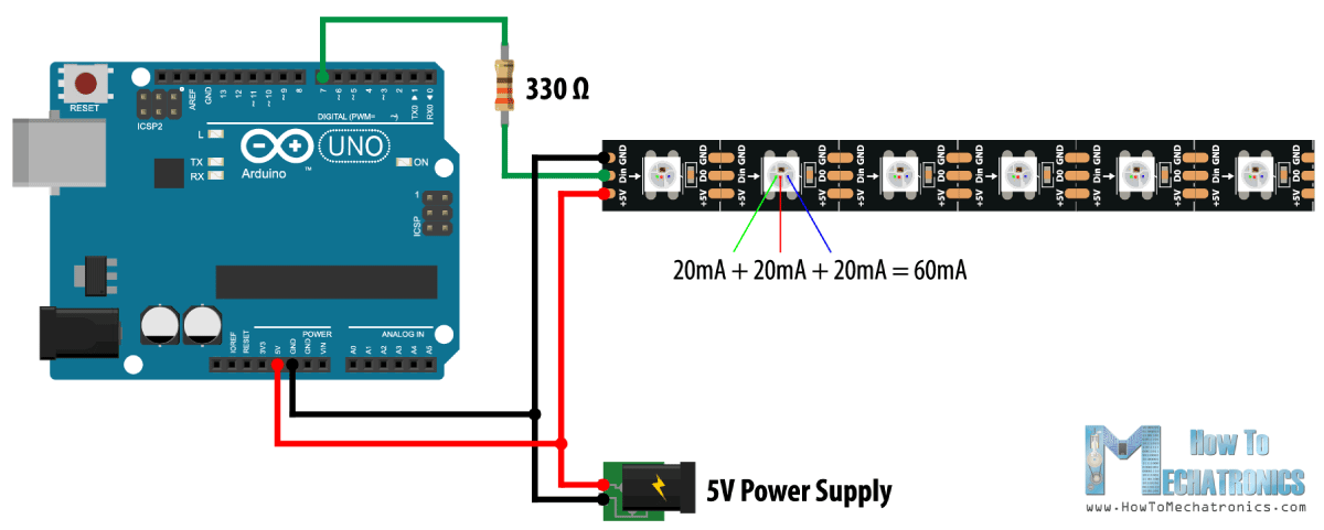 How To Control WS2812B Individually Addressable LEDs using