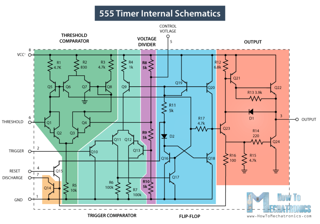 555 Timer Internal Schematics