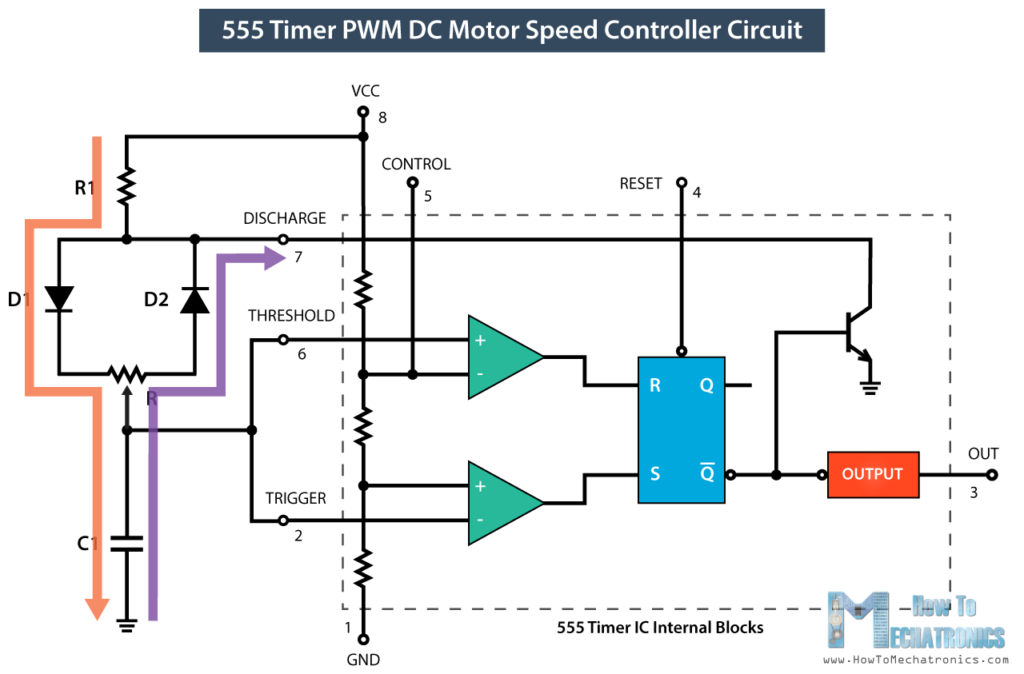 555 Timer PWM DC Motor Speed Control Potentiometer