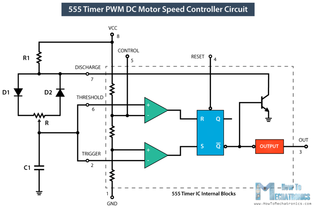 How To Make a PWM DC Motor Speed Controller using the 555 Timer IC ...