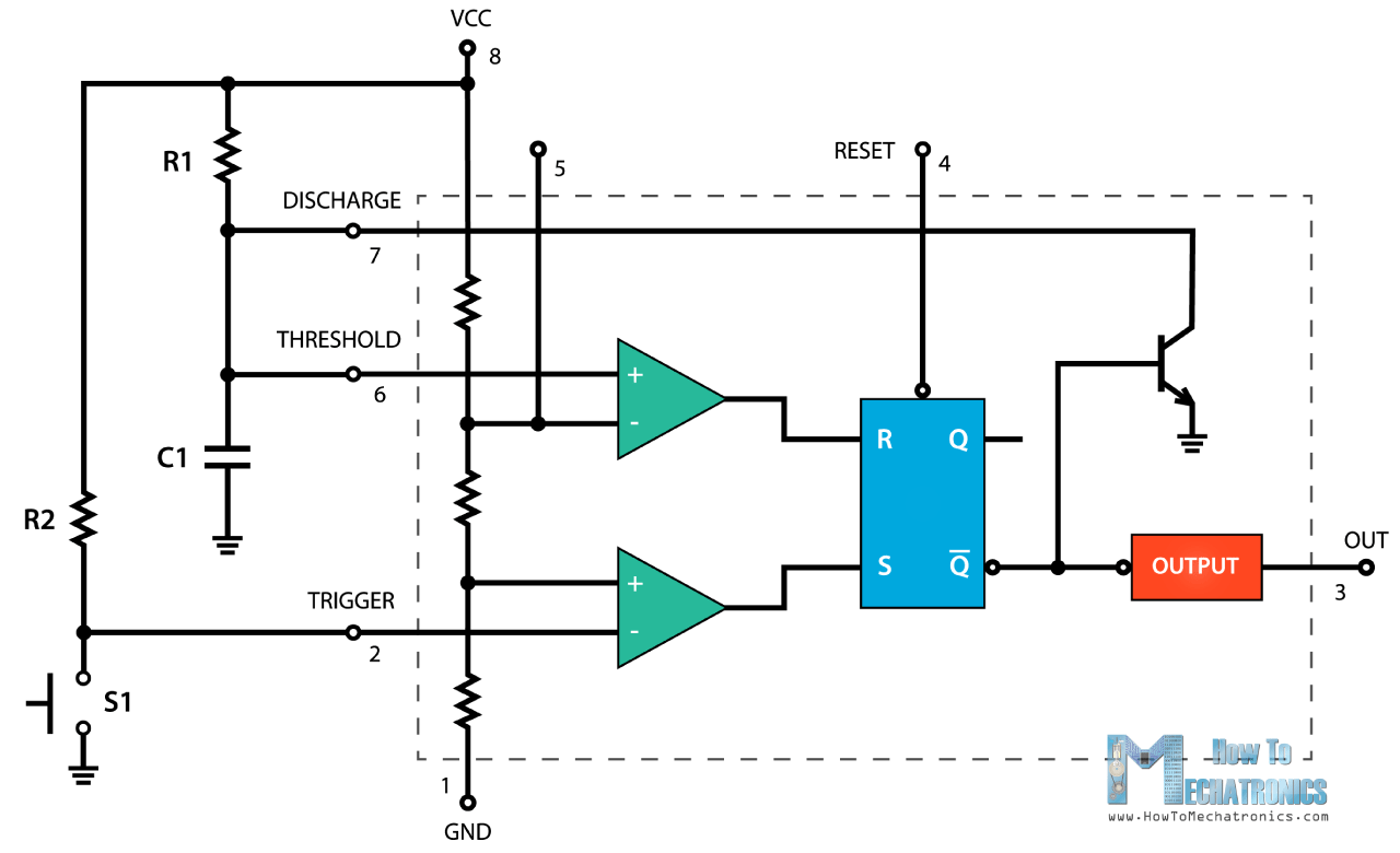 555 Timer Ic Working Principle Block Diagram Circuit Schematics Off Wiring Monostable Mode