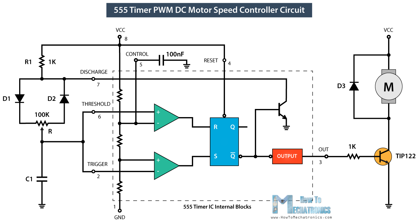 how to make a pwm dc motor speed controller using the 555 timer ic Potentiometer Wiring Connection Diagram pwm dc motor speed control with 555 timer ic