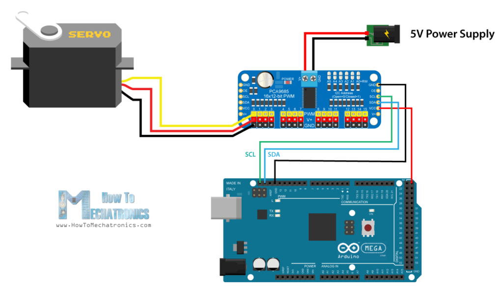 Arduino and PCA9685 Circuit Schematic