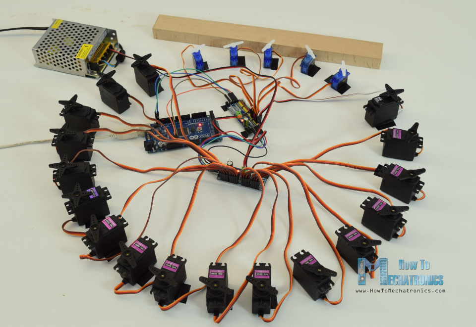 Controlling 22 Servo Motors with Arduino and PCA9685