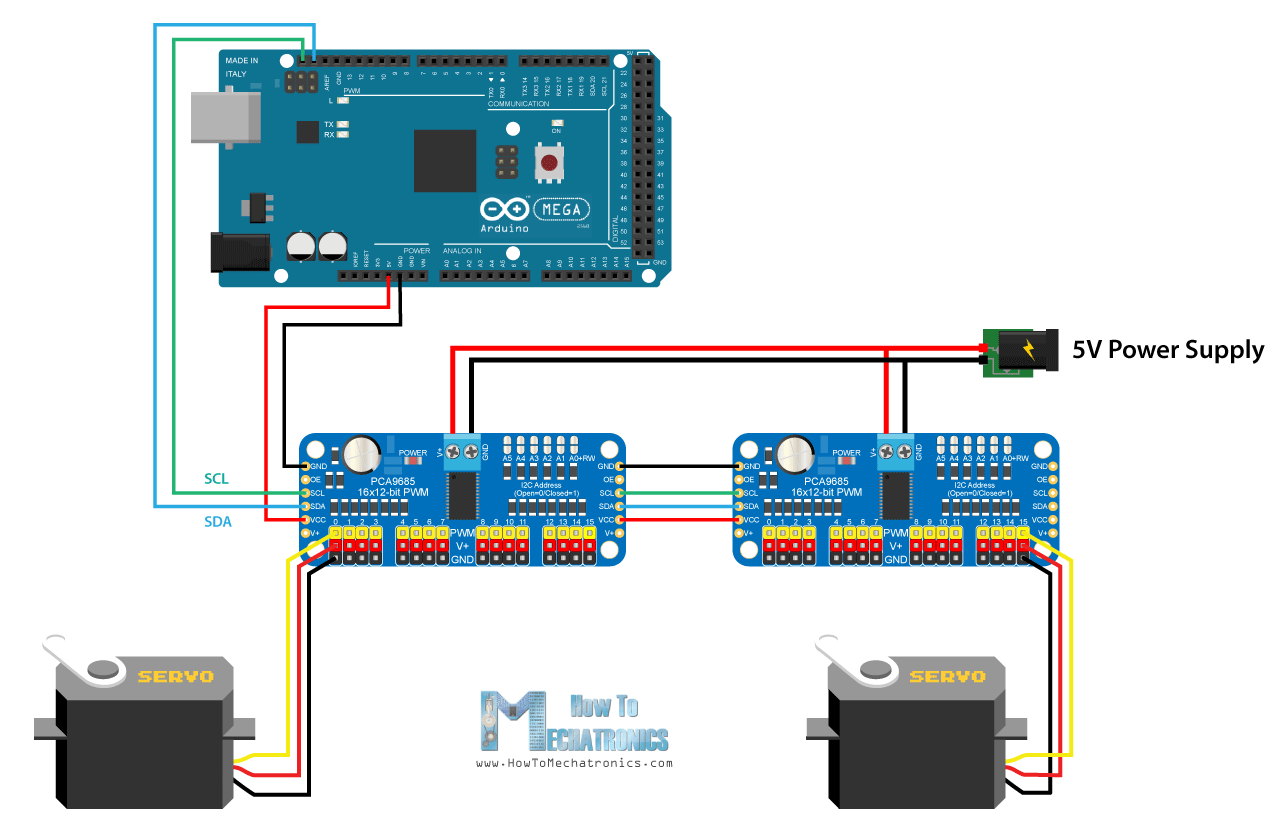 How Servo Motors Work To Control Servos Using Arduino Daisy Chain Electrical Schematics Wiring Diagram Multiple Pca9685 Drivers Chained Circuit
