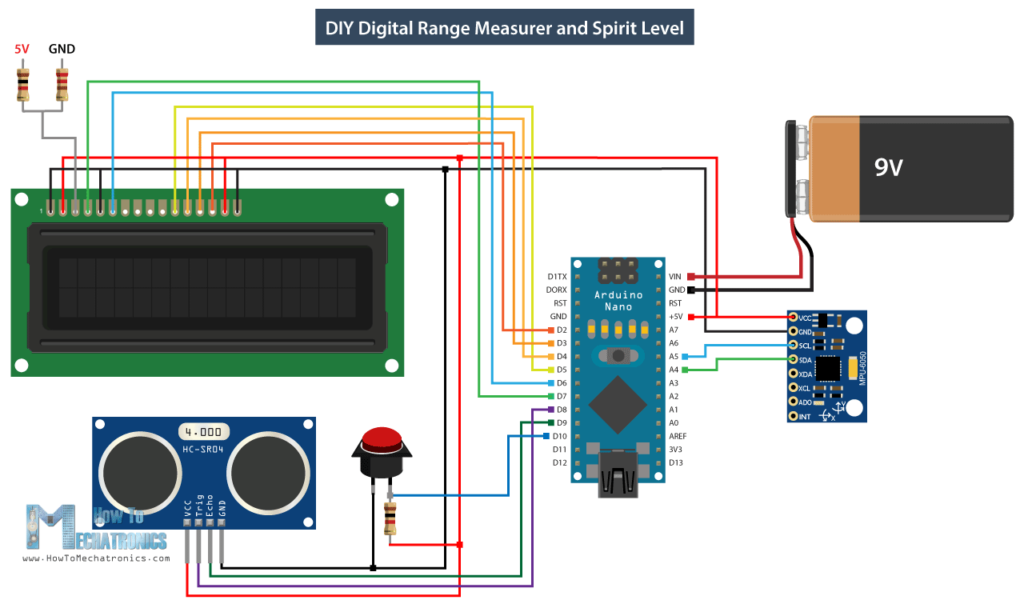 Arduino DIY Digital Range Measurer and Spirit Level Circuit Schematic