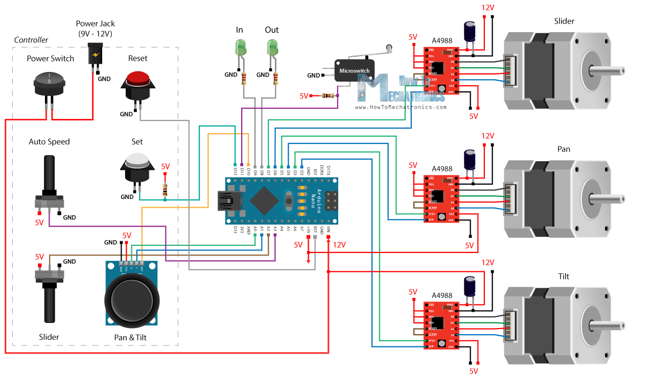 Diy Motorized Camera Slider With Pan And Tilt Head Arduino Based Circuit Board Wiring Diagrams Further Project Diagram