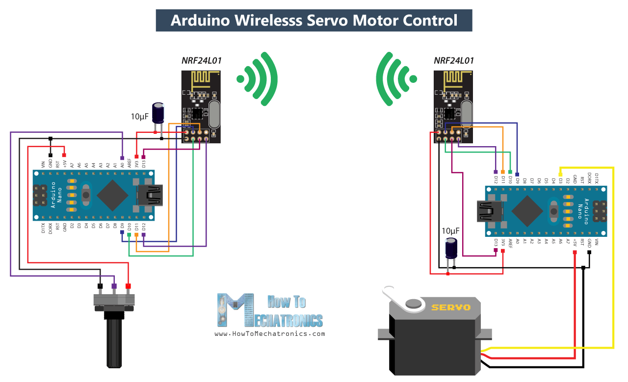 How To Build An Arduino Wireless Network With Multiple Nrf24l01 Modules Circuit Diagram Printer Servo Motor Control