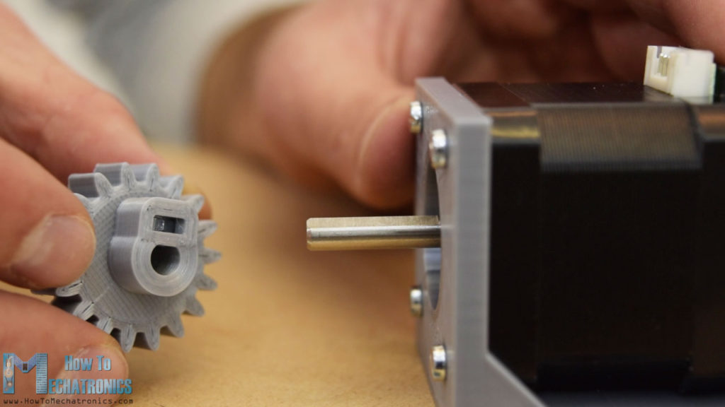 3d printed gear with shaft clamp for NEMA 17 stepper motor