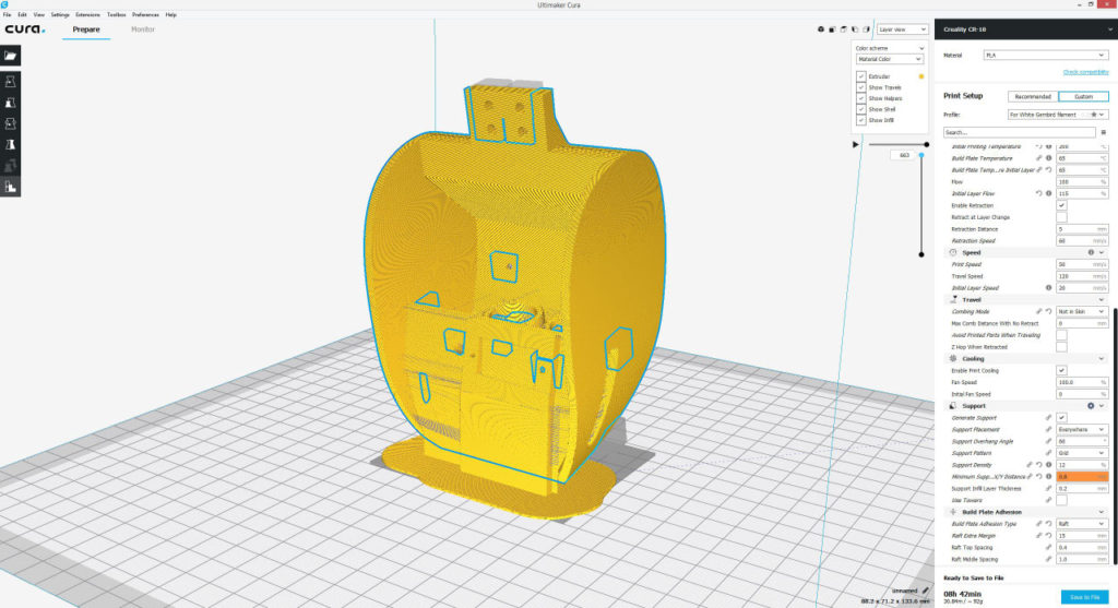 3D Printing the ant robot head - cura settings