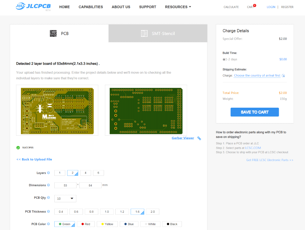 PCB order from JLCPCB