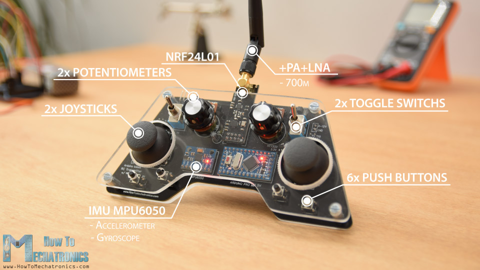 Arduino RC Controller with 14 channels and MPU6050 Accelerometer and Gyro