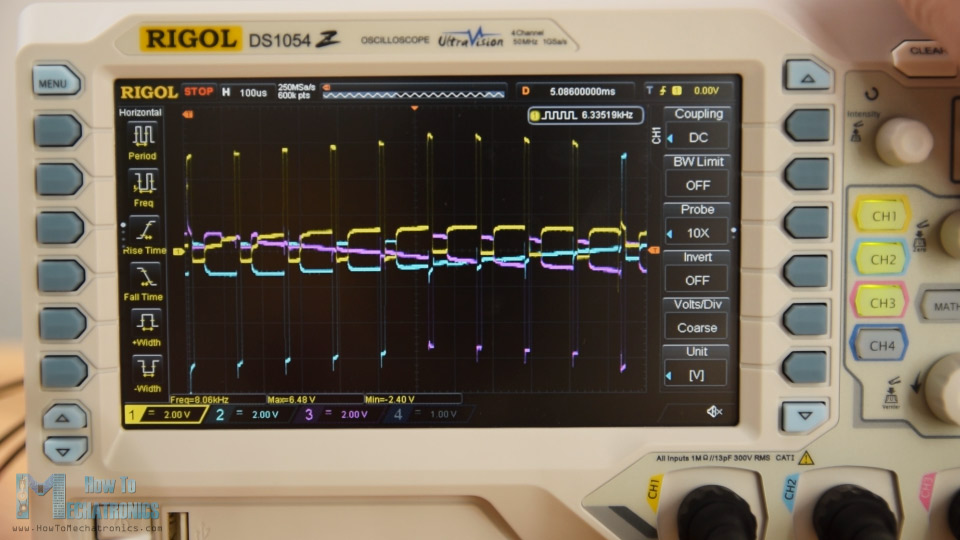 BLDC motor phases activations displayed on a Rigol DS1054Z Oscilloscope