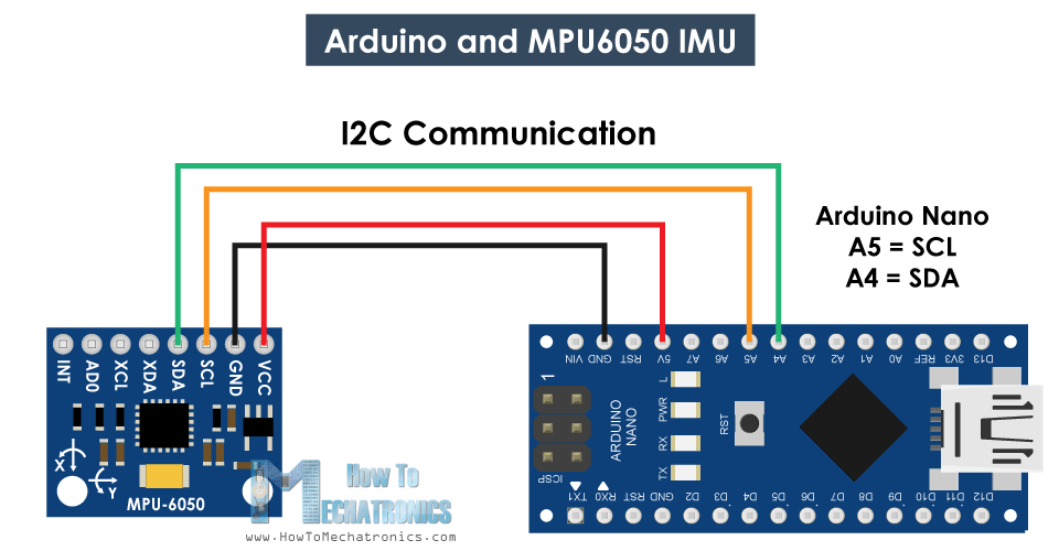 Arduino and MPU6050 Circuit Diagram