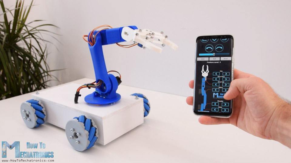 Arduino Mecanum Wheels Robot and Robotic Arm Operating Automatically