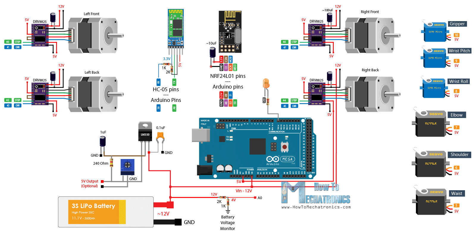 Arduino Robot Arm and Mecanum Wheels Robot Circuit Diagram