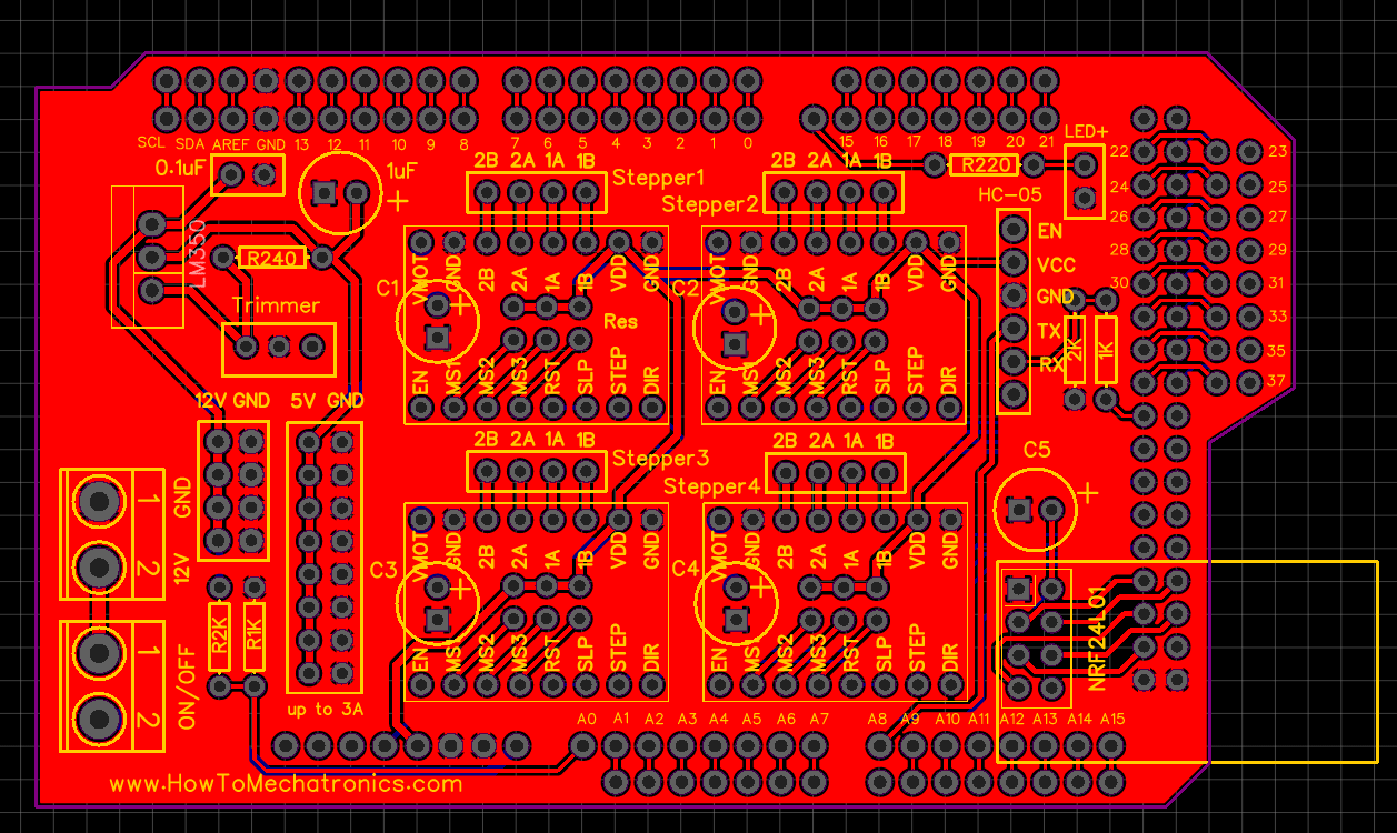Custom PCB Design for the Arduino Robot - Arduino Mega Shield