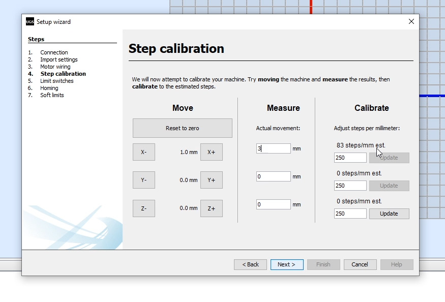 CNC machine step calibration with Universal G-code sender
