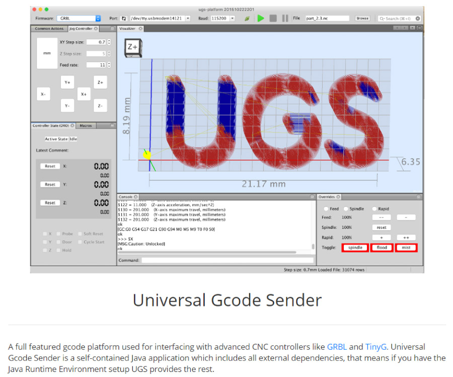 Universal G-code Sender for controlling the Arduino CNC Machine