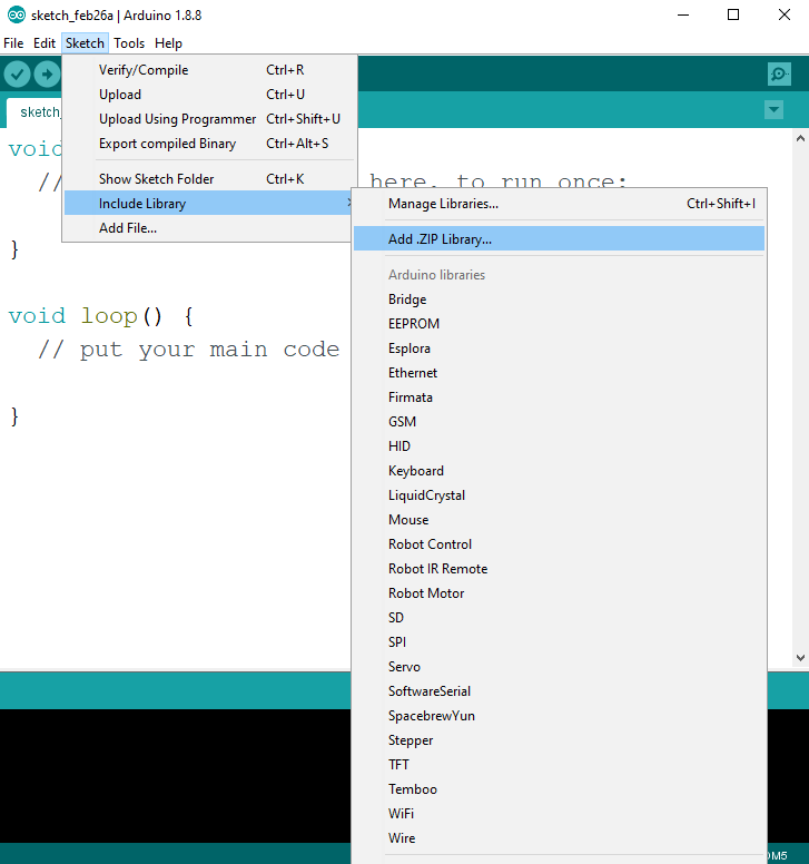 Add new library to Arduino IDE