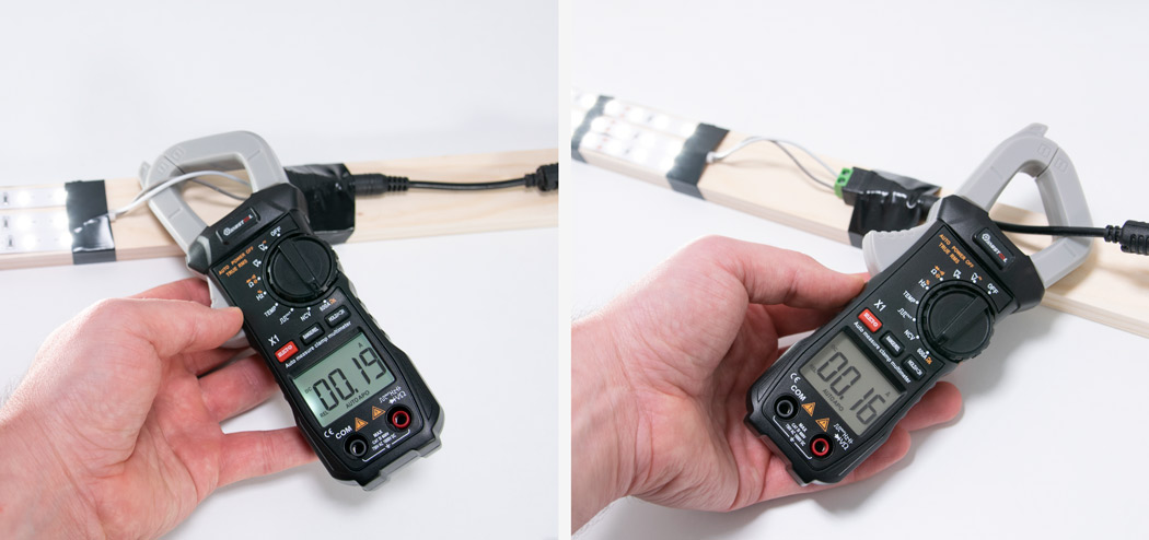 Clamp meter shows zero when measuring current on both wires positive and negative