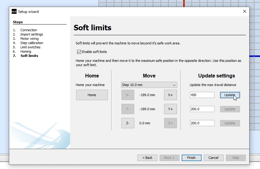 Enabling soft limits for the CNC machine