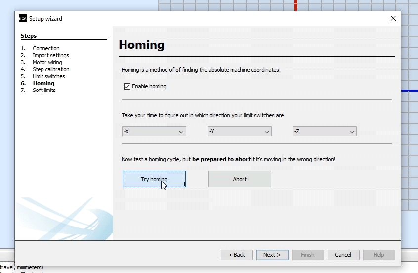 Homing settings for our CNC machine