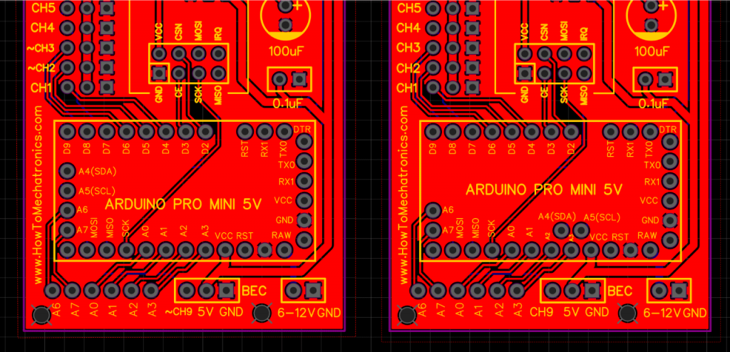 Arduino Pro Mini boards with different pins arrangement