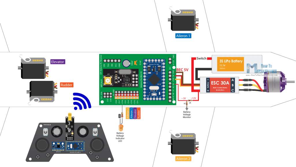 DIY Arduino RC Airplane Electronics - Circuit Diagram