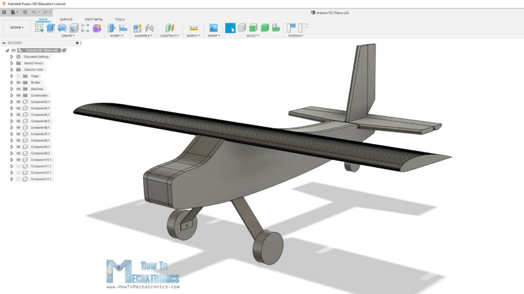 RC Airplane 3D Model in Autodesk Fusion 360