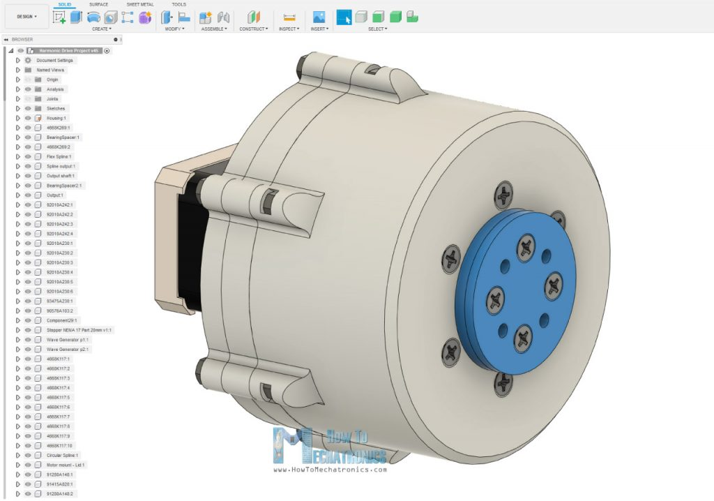 3D Model of Harmonic Drive in Fusion 360
