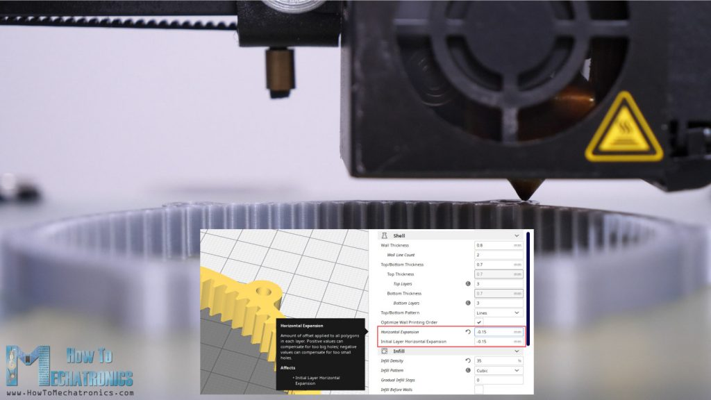 3D Printing gears - Horizontal Expansion featuring turned on in the slicing software