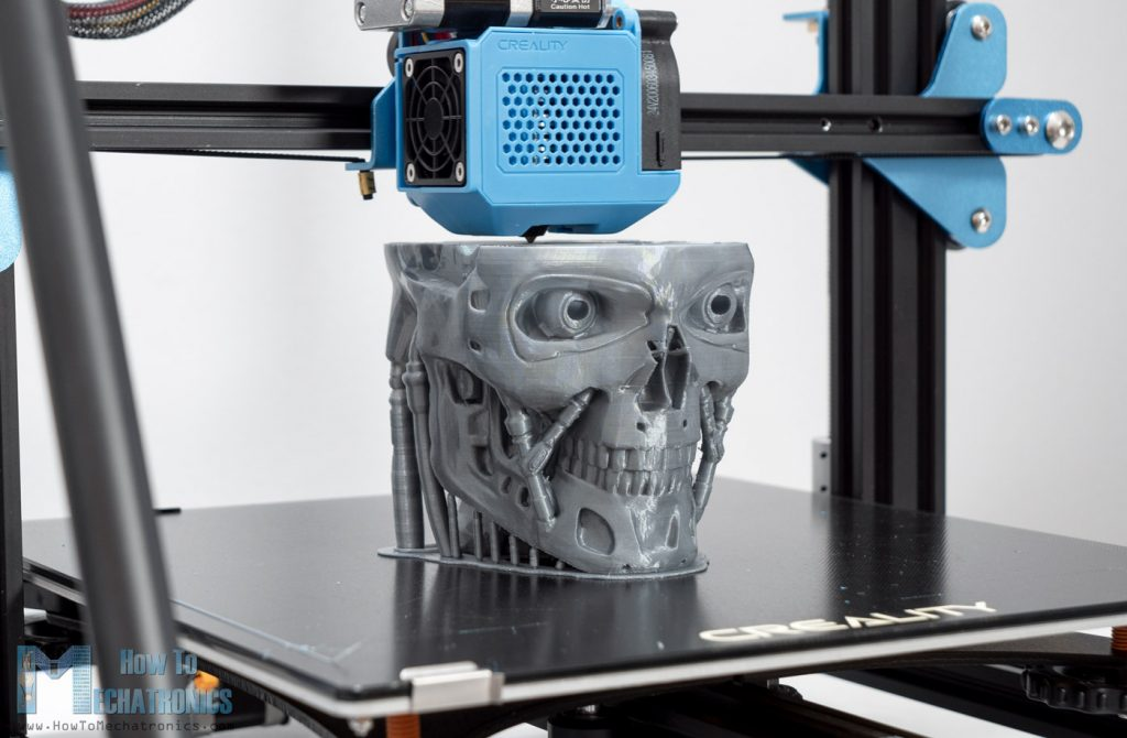 3D Printing Terminator T-800 with Silver PLA on Creality CR-10 V3
