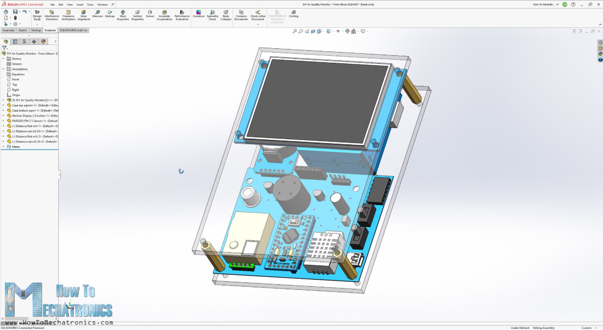 3D model of the Air Quality Monitor in Solidworks