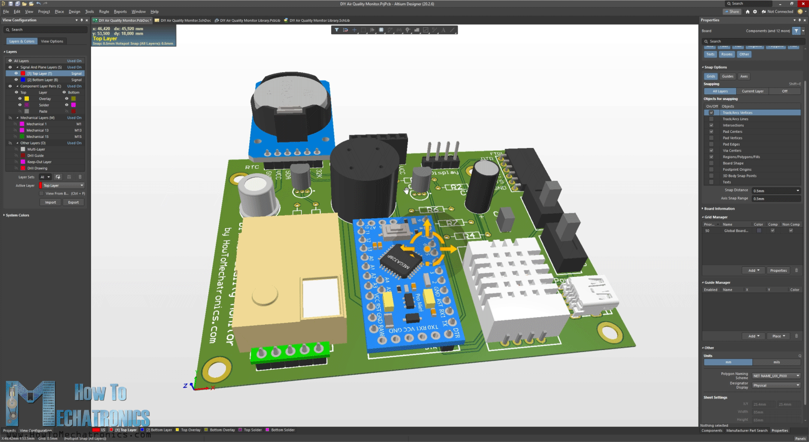 Altium Designer - Arduino Air Quality Monitor PCB 3D Model