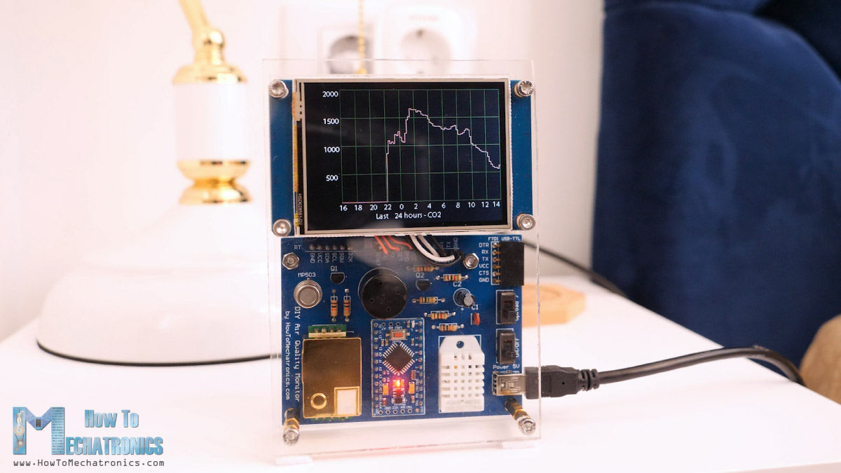 DIY Air Quality Monitor with last 24 hours sensors data storing